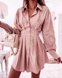 Елегантна дамска рокля в цвят пудра - код 8141
