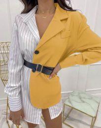 Ефектна дамска риза в цвят горчица - код 4169
