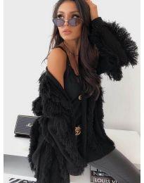 Плетена дамска жилетка с ресни в черно - код 242