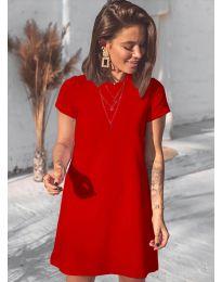 Изчистена рокля в червено - код 2299