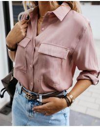 Изчистена дамска риза в цвят пудра - код 6148
