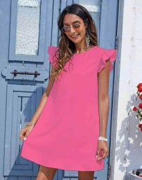 Къса дамска рокля в розово - код 6261