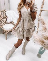 Дамска рокля в бежово на точки - код 8292