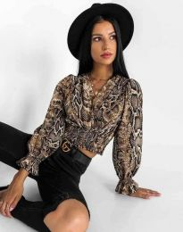 Елегантна блуза с ефектен животински десен  - код 0482 - 1