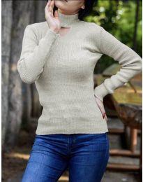 Дамска блуза с поло яка в бежово - код 5191