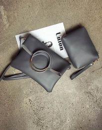 Дамска чанта от две части в тъмносиво - код B292