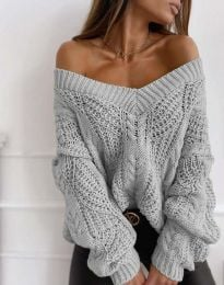 Дамски пуловер в сиво - код 1637