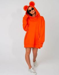 Ефектен дамски суитшърт в оранжево - код 4917