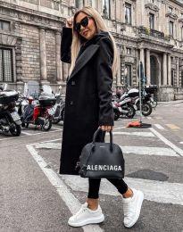 Дълго дамско палто в черно - код 8492