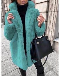 Дълго дамско палто в цвят тюркоаз - код 187