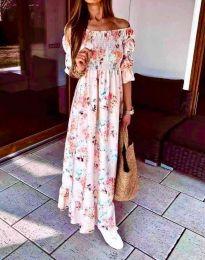 Дълга дамска рокля с атрактивен десен - код 6319 - 3