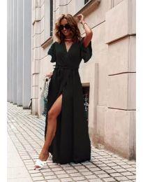 Ефирна дълга рокля с цепка в черно  - код 666