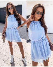 Ефирна дамска рокля в светло синьо - код 513