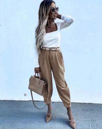 Дамски панталон с колан в цвят капучино - код 2109