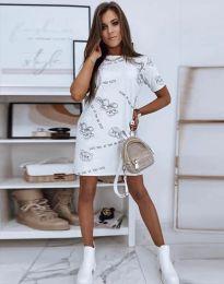Свободна рокля в бяло - код 2906