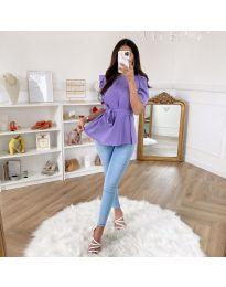 Елегантна блуза с къс ръкав в светло лилаво - код 324