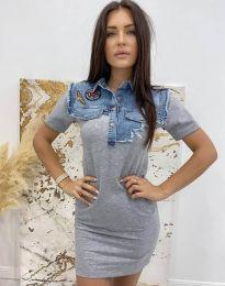 Ефектна дамска рокля в сиво - код 2473