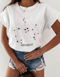 Дамска тениска с принт бяло - код 2342