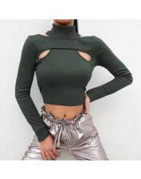 Атрактивна дамска блуза в масленозелено - код 0177
