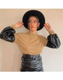 Атрактивна дамска блуза в кафяво - код 5171