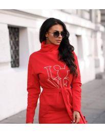 Червена рокля с поло яка и принт - код 435