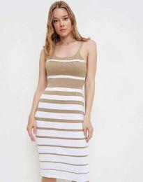 Атрактивна дамска рокля в бежово - код 0998