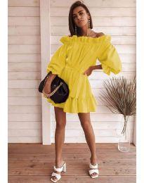 Свободна дамска рокля в жълто - код 3386