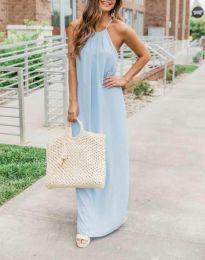 Дълга дамска рокля в светлосиньо - код 6258