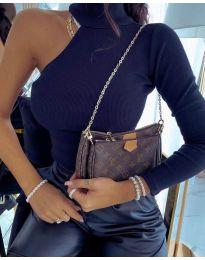 Дамска блуза с един ръкав в тъмно синьо - код 2772