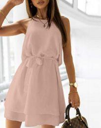 Дамска рокля с колан в цвят праскова - код 9968