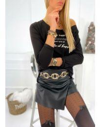 Дамска блуза в черно с надпис - код 4247