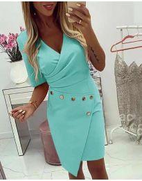 Ефектна рокля с капси в цвят мента - код 415