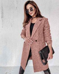 Дамско палто в цвят пудра - код 0964