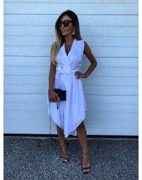 Изчистена рокля в бяло - код 0020