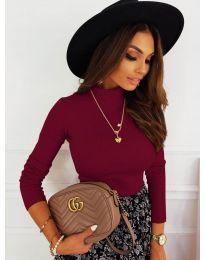 Дамска блуза с поло яка в бордо - код 7071