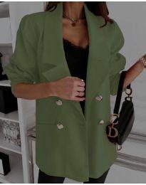 Свободно дамско сако в масленозелено - код 5868