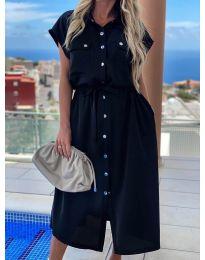 Дълга рокля с копчета в черно - код 0014