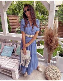 Дълга ефирна рокля в светло синьо - код 641
