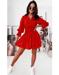 Модерна дамска рокля в червено - код 1843