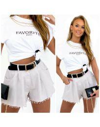 Атрактивни къси панталони в бяло - код 4563