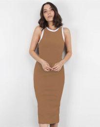 Атрактивна дамска рокля в цвят капучино - код 5273