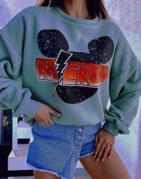Дамска блуза в цвят мента с принт - код 2535
