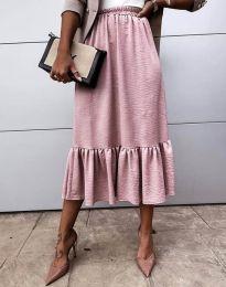 Разкроена дамска пола в цвят пудра - код 3463