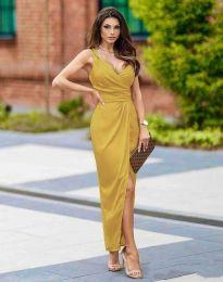 Стилна дамска рокля в цвят горчица - код 6135