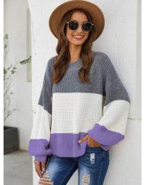 Свободна плетена блуза в лилаво - код 970