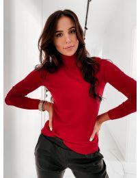 Дамска блуза с поло яка  в червено - код  8861