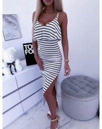 Дамска рокля на райе с интересен гръб - код 401 - 2