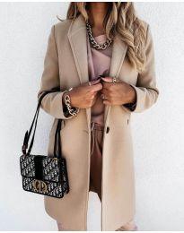 Свободно палто в бежово - код 7709