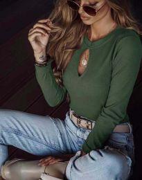 Ефектна дамска блуза в масленозелено - код 2859