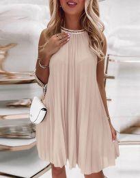 Дамска плисирана рокля в бежово - код 0889